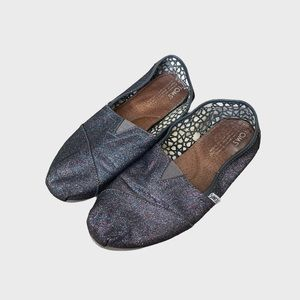 TOMS Glitter Sparkly Slip On Flat Shoes W8.5